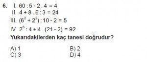 6. Sınıf Matematik kazanım Test 1 soru 6