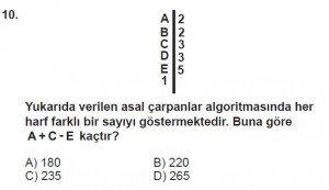 6. Sınıf Matematik kazanım Test 3 soru 10