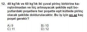 6. Sınıf Matematik kazanım Test 3 soru 12