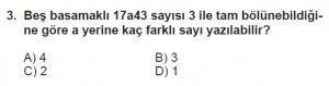6. Sınıf Matematik kazanım Test 3 soru 3