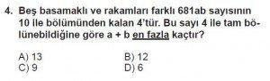 6. Sınıf Matematik kazanım Test 3 soru 4