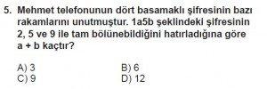 6. Sınıf Matematik kazanım Test 3 soru 5