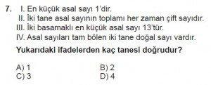 6. Sınıf Matematik kazanım Test 3 soru 7