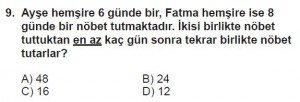 6. Sınıf Matematik kazanım Test 3 soru 9