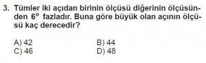 6. Sınıf Matematik kazanım Test 4 soru 3