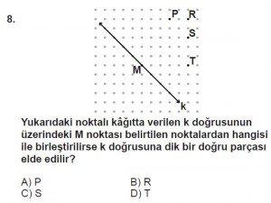 6. Sınıf Matematik kazanım Test 4 soru 8