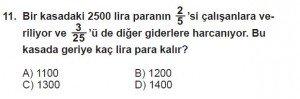 6. Sınıf Matematik kazanım Test 6 soru 11