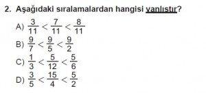6. Sınıf Matematik kazanım Test 6 soru 2
