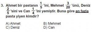 6. Sınıf Matematik kazanım Test 6 soru 3