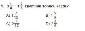 6. Sınıf Matematik kazanım Test 6 soru 5