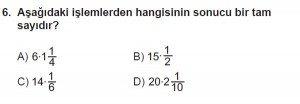 6. Sınıf Matematik kazanım Test 6 soru 6