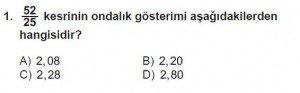 6. Sınıf Matematik kazanım Test 7 soru 1