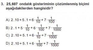 6. Sınıf Matematik kazanım Test 7 soru 3