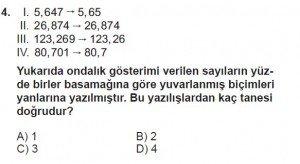 6. Sınıf Matematik kazanım Test 7 soru 4