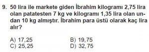 6. Sınıf Matematik kazanım Test 7 soru 9