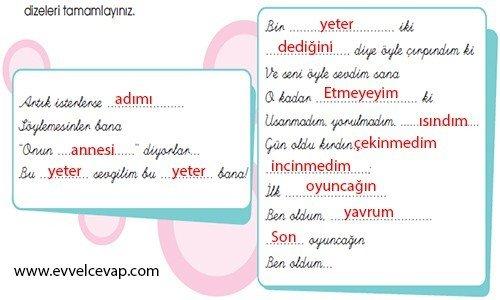 6. Sınıf Türkçe Çalışma Kitabı MEB Yayınları 4. Tema Sayfa 114 1. Etkinlik