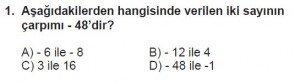 7. Sınıf Matematik kazanım Test 1 soru 1