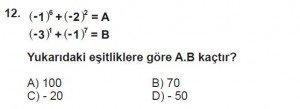 7. Sınıf Matematik kazanım Test 1 soru 12