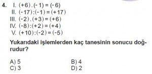 7. Sınıf Matematik kazanım Test 1 soru 4
