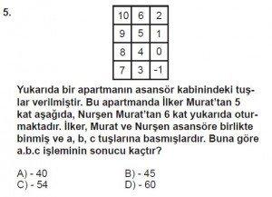 7. Sınıf Matematik kazanım Test 1 soru 5
