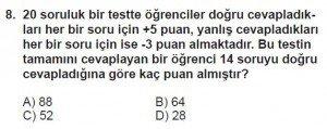 7. Sınıf Matematik kazanım Test 1 soru 8