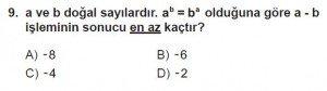 7. Sınıf Matematik kazanım Test 1 soru 9
