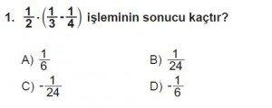 7. Sınıf Matematik kazanım Test 4 soru 1