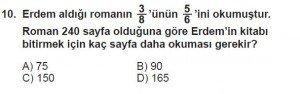 7. Sınıf Matematik kazanım Test 4 soru 10