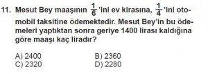 7. Sınıf Matematik kazanım Test 4 soru 11