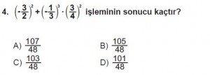 7. Sınıf Matematik kazanım Test 4 soru 4