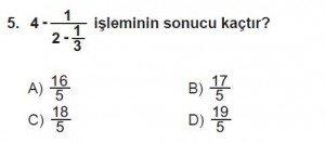 7. Sınıf Matematik kazanım Test 4 soru 5