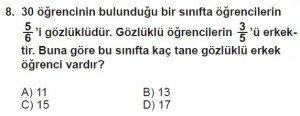 7. Sınıf Matematik kazanım Test 4 soru 8