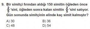 7. Sınıf Matematik kazanım Test 4 soru 9