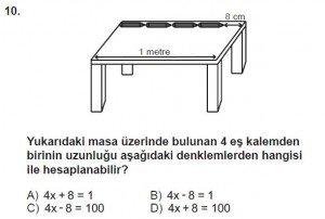 7. Sınıf Matematik kazanım Test 5 soru 10