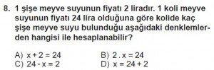7. Sınıf Matematik kazanım Test 5 soru 8