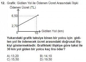 7. Sınıf Matematik kazanım Test 7 soru 12