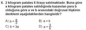 7. Sınıf Matematik kazanım Test 7 soru 6