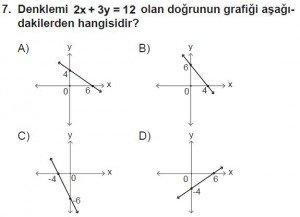 7. Sınıf Matematik kazanım Test 7 soru 7
