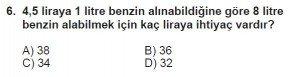 7. Sınıf Matematik kazanım Test 8 soru 6