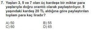 7. Sınıf Matematik kazanım Test 8 soru 7