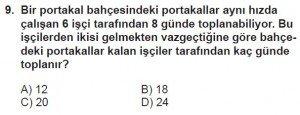7. Sınıf Matematik kazanım Test 8 soru 9