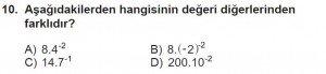 8. Sınıf Matematik kazanım Test 1 soru10