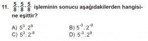 8. Sınıf Matematik kazanım Test 1 soru11