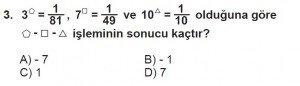8. Sınıf Matematik kazanım Test 1 soru3