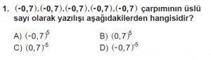 8. Sınıf Matematik kazanım Test 2 soru1