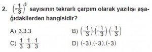 8. Sınıf Matematik kazanım Test 2 soru2