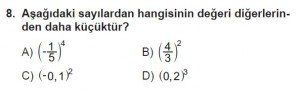 8. Sınıf Matematik kazanım Test 2 soru8