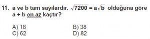 8. Sınıf Matematik kazanım Test 4 soru11