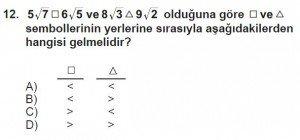 8. Sınıf Matematik kazanım Test 4 soru12