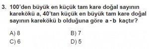 8. Sınıf Matematik kazanım Test 4 soru3